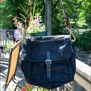 Prada black nylon and leather shoulder bag